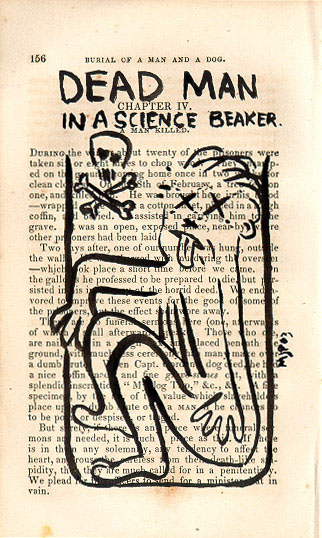 Dead man in a science beaker - click to enlarge!